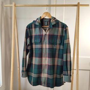 Flannel Jacket Hooded Ralph Lauren Green Plaid